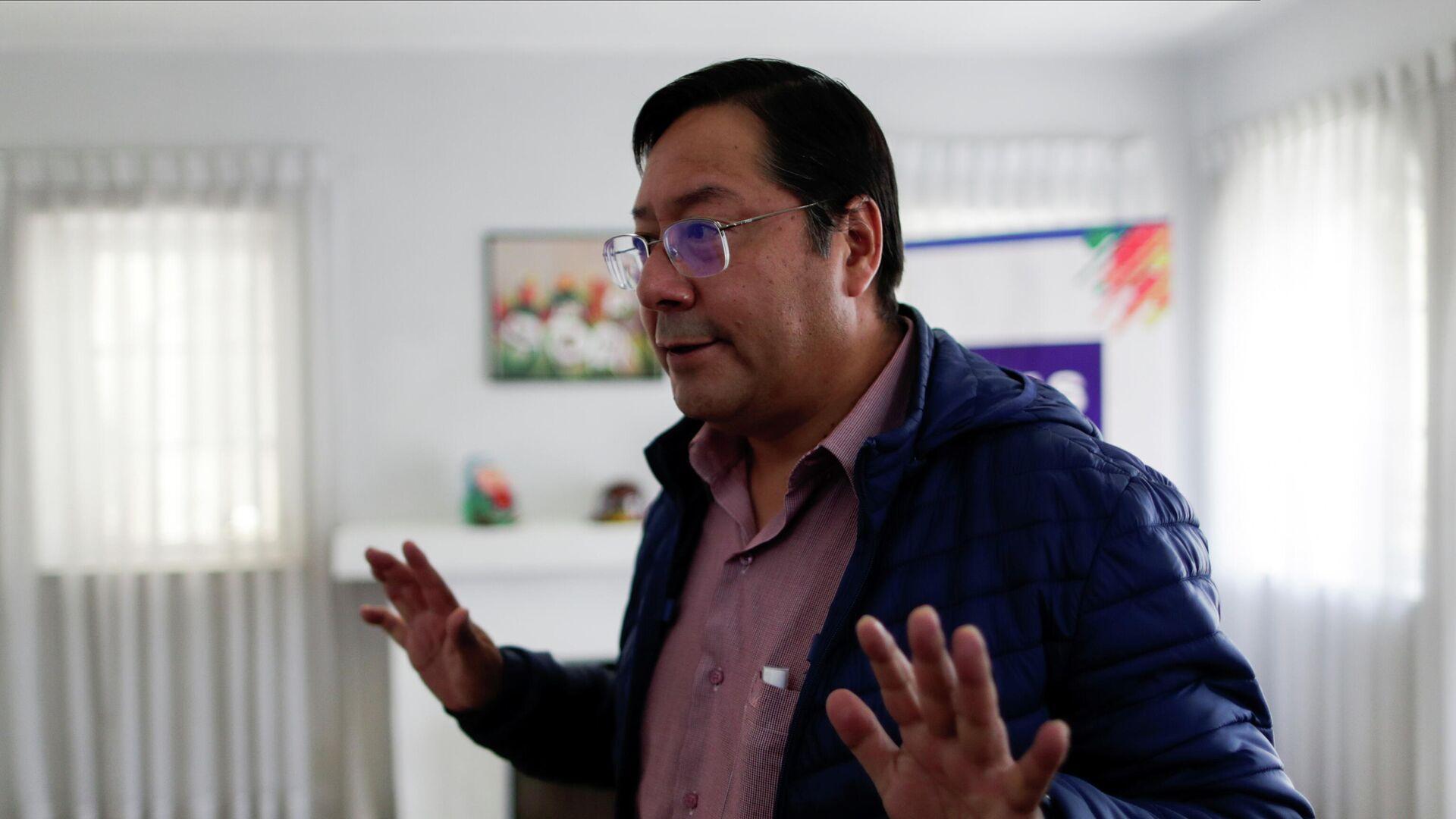 Кандидат в президенты от партии Движение за социализм Луис Арсе в Ла-Пасе, Боливия - РИА Новости, 1920, 26.10.2020