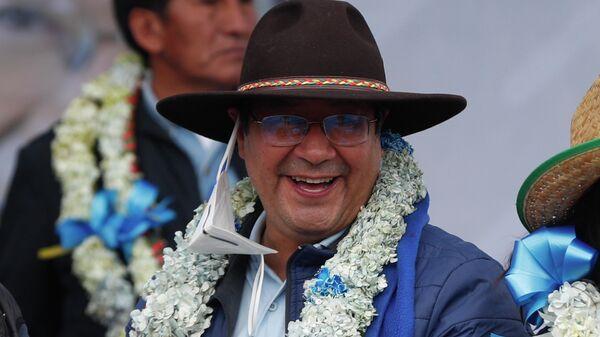 Новоизбранный президент Боливии Луис Арсе после объявления окончтельного результата официального подсчета голосов