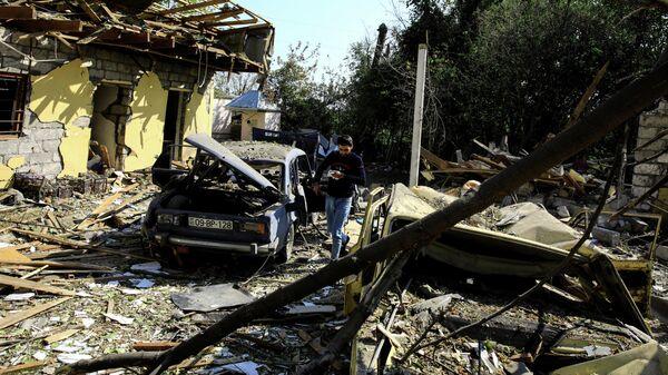 Последствия обстрела Бардинского района Азербайджана
