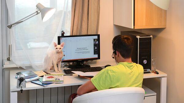 Ученик школы №1580 во время онлайн занятий у себя дома в Москве