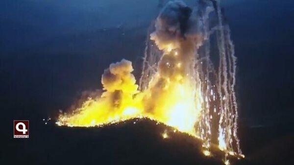 Удары противника в Карабахе с применением боеприпасов с белым фосфором.  Кадры армии обороны НКР
