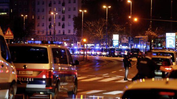 Полицейские автомобили, стоящие на улице после теракта в Вене
