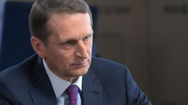 Директор Службы внешней разведки РФ Сергей Нарышкин во время интервью РИА Новости