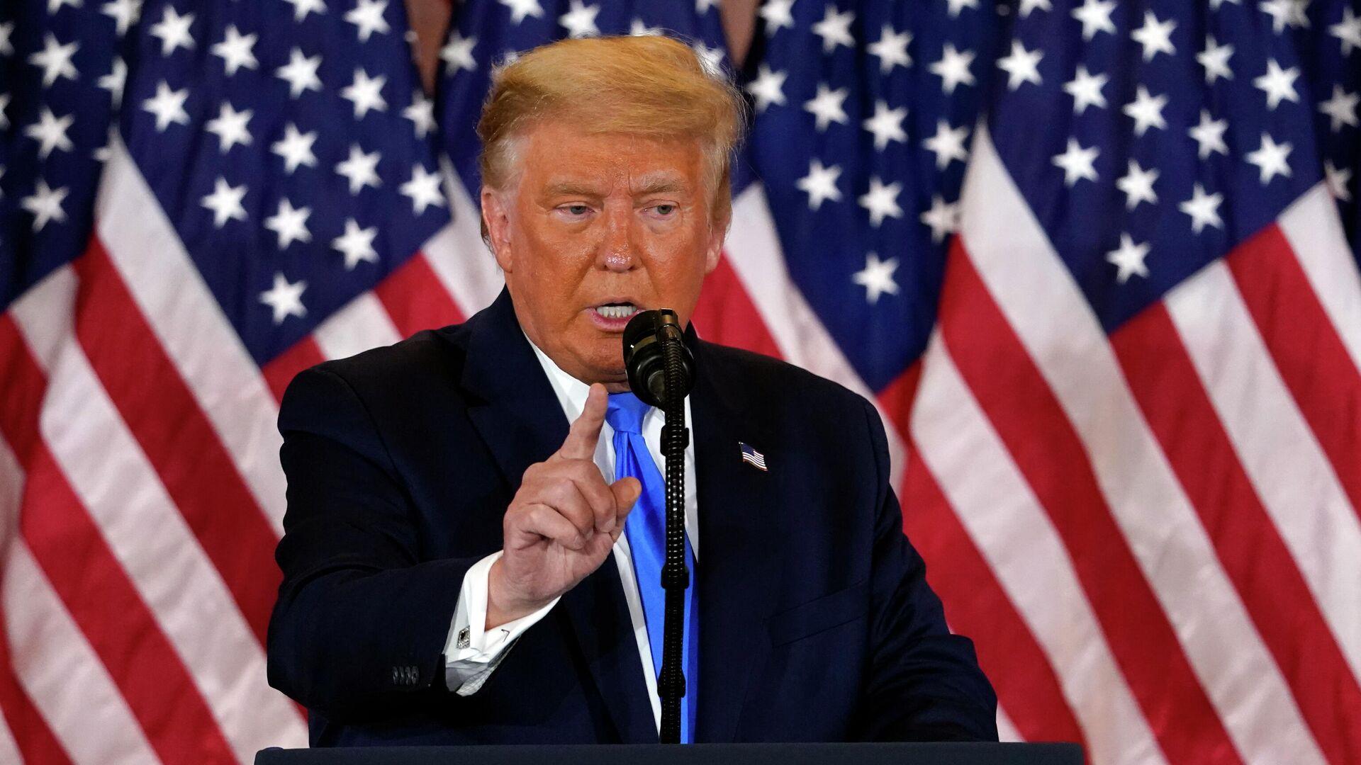Президент США Дональд Трамп делает заявление относительно первых результатов президентских выборов в США - РИА Новости, 1920, 21.11.2020
