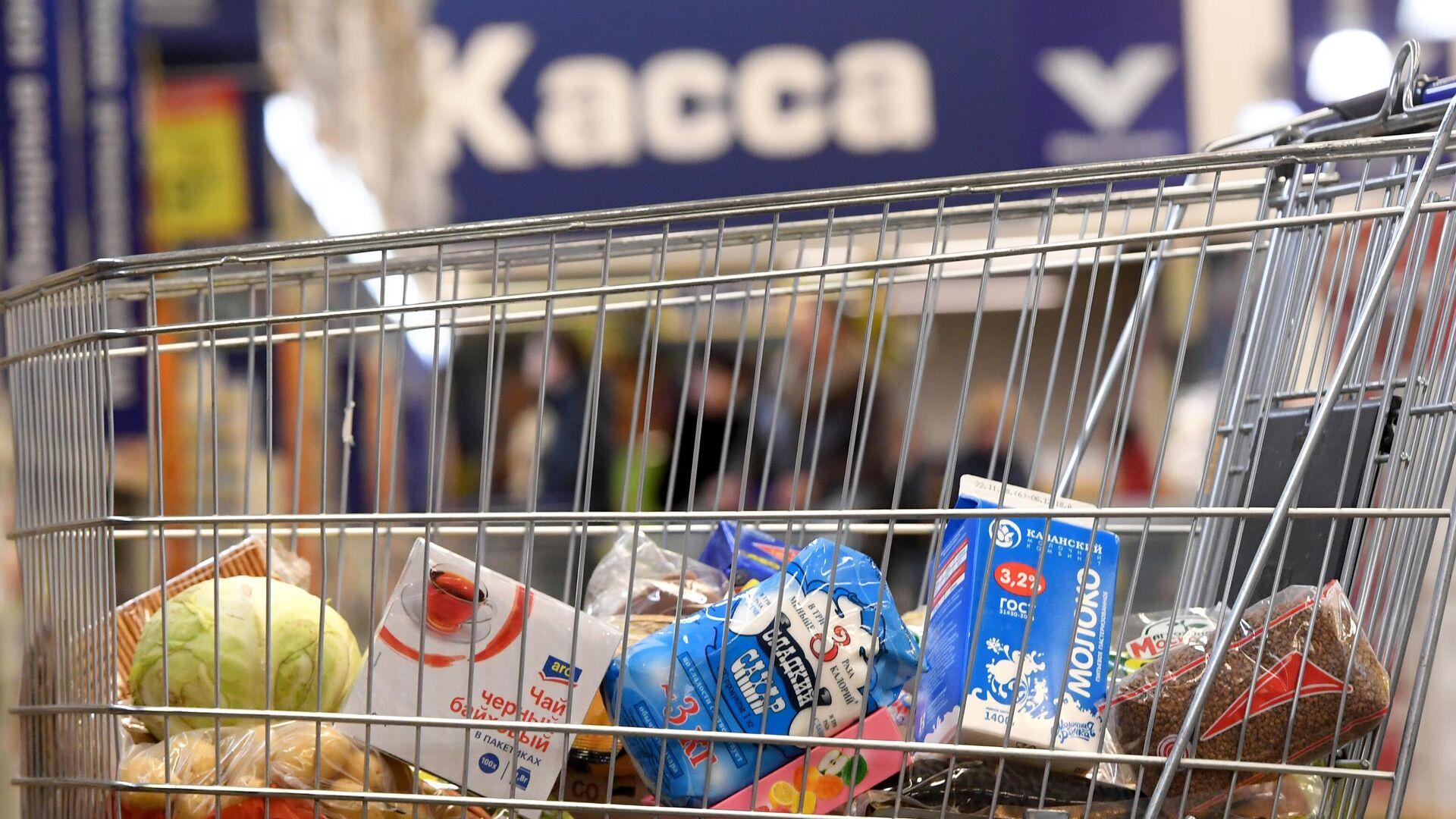Тележка с продуктами в магазине - РИА Новости, 1920, 31.07.2021