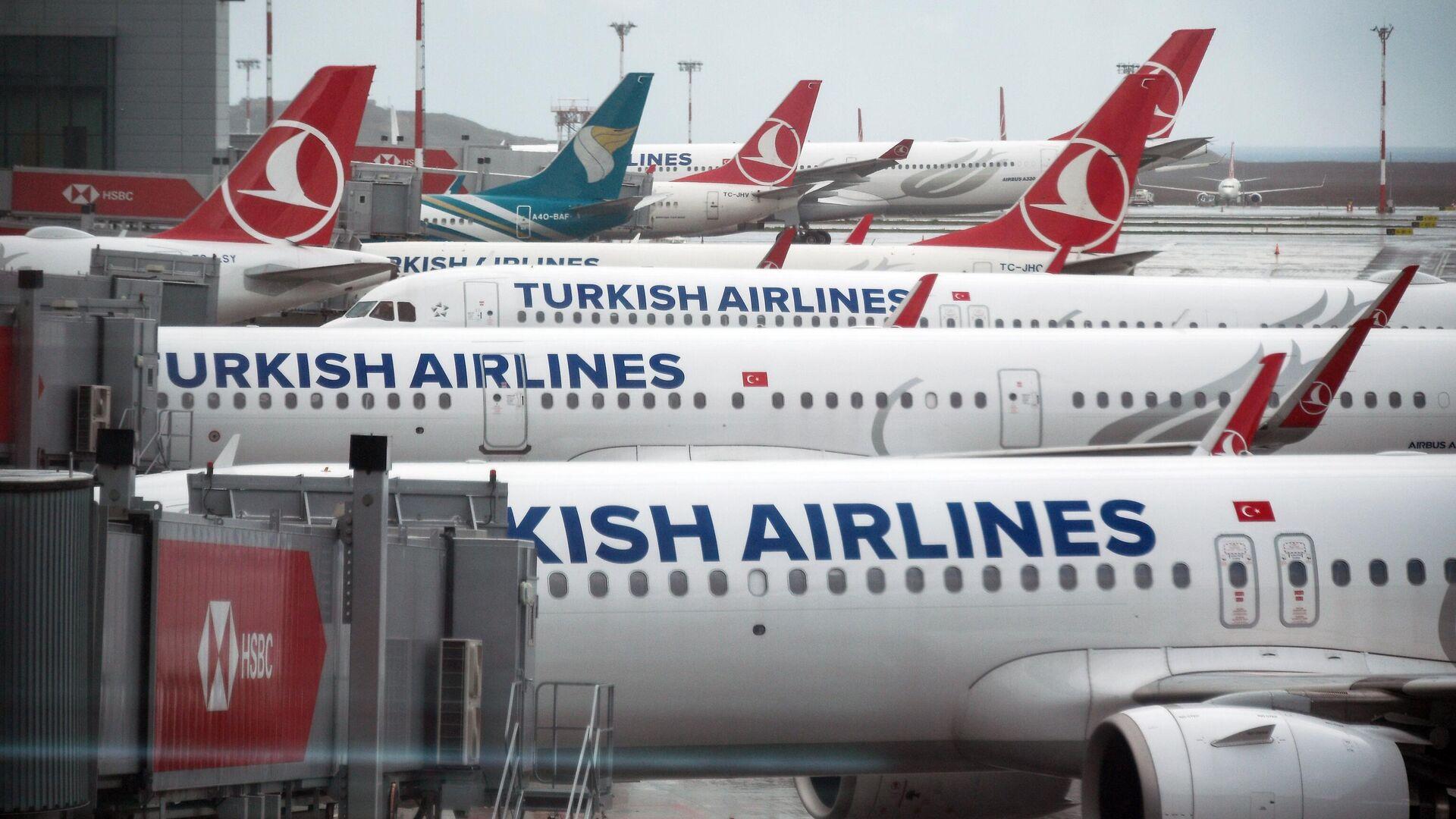 Самолеты на перроне в Международном аэропорту Стамбул  - РИА Новости, 1920, 24.12.2020