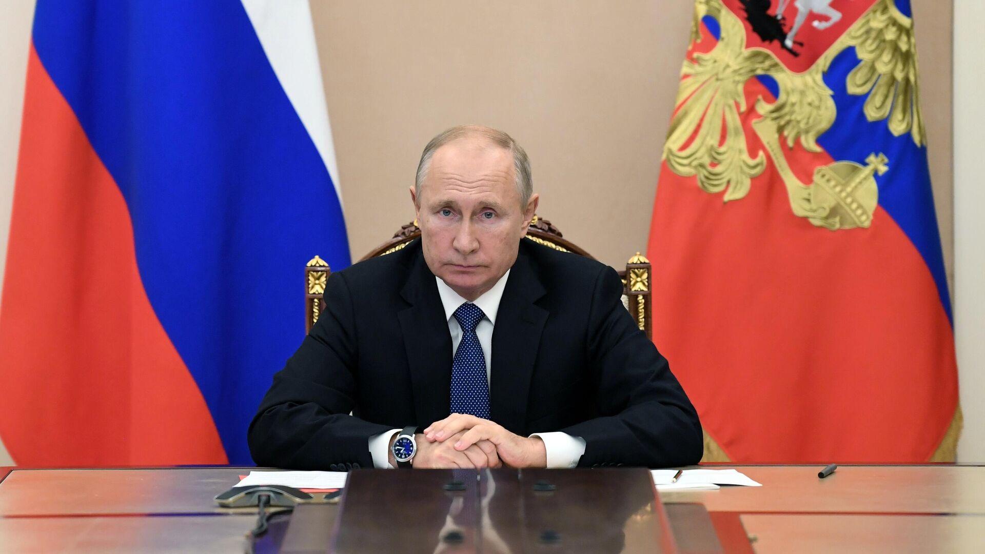 Президент РФ Владимир Путин проводит оперативное совещание с постоянными членами Совета безопасности РФ в режиме видеоконференции - РИА Новости, 1920, 17.11.2020