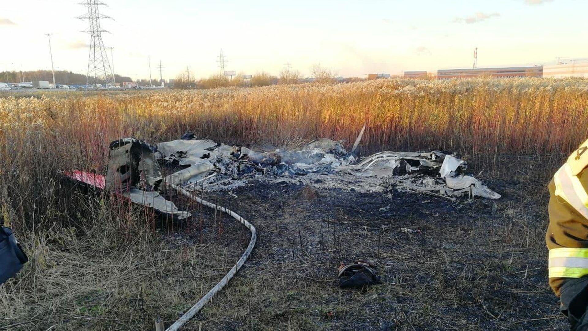 На месте аварийной посадки легкомоторного самолета в городском округе Люберцы - РИА Новости, 1920, 28.03.2021