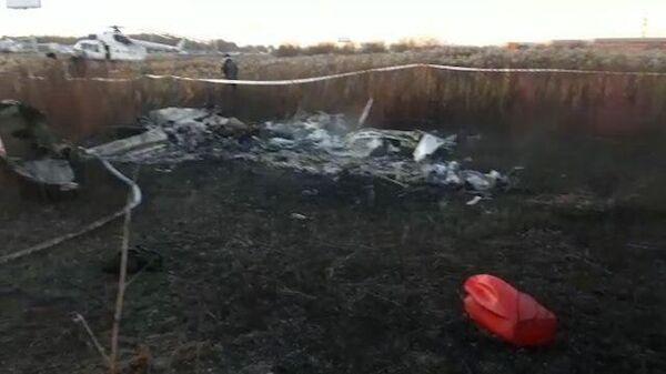 Кадры с места падения легкомоторного самолета под Люберцами