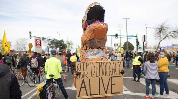 Участник мирной акции протеста в костюме динозавра, требующий учета всех голосов на выборах президента США, в Миннеаполисе