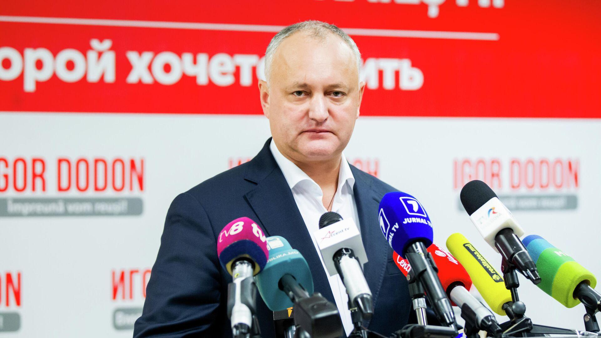 Баллотирующийся на второй срок президент Игорь Додон на пресс-конференции после окончания голосования во втором туре выборов - РИА Новости, 1920, 29.01.2021