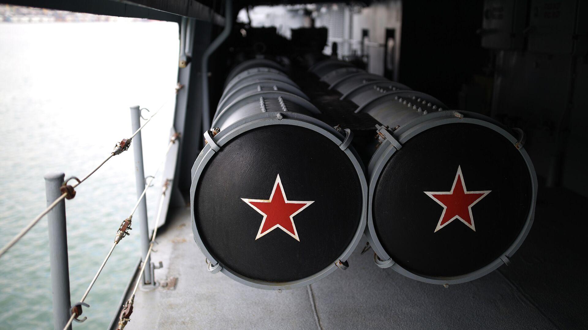 Торпедный отсек на борту фрегата Адмирал Макаров ВМФ РФ в порту Новороссийска - РИА Новости, 1920, 20.09.2021