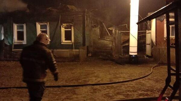 Пожар в частном доме в поселке Гусь-Железный Касимовского района Рязанской области