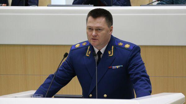 Генеральный прокурор РФ Игорь Краснов выступает на заседании Совета Федерации РФ