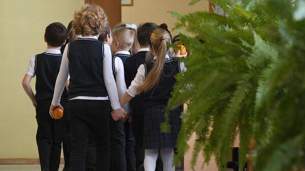 Ученики начальных классов в гимназии Новосибирска
