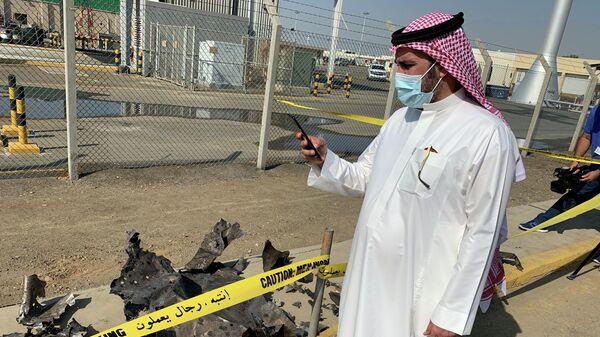 Последствия ракетного обстрела распределительной станции компании Saudi Aramco в городе Джидда в Саудовской Аравии