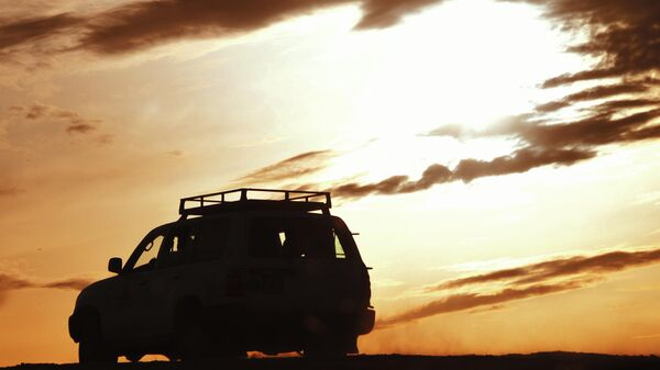 Закат в пустыне в Тунисе