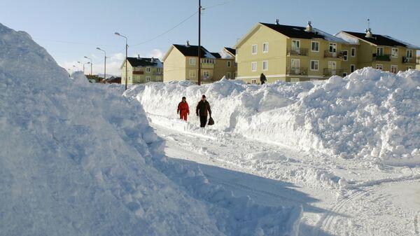 Жители села Троицкое Анивского района Сахалинской области идут по улице, очищенной от снега