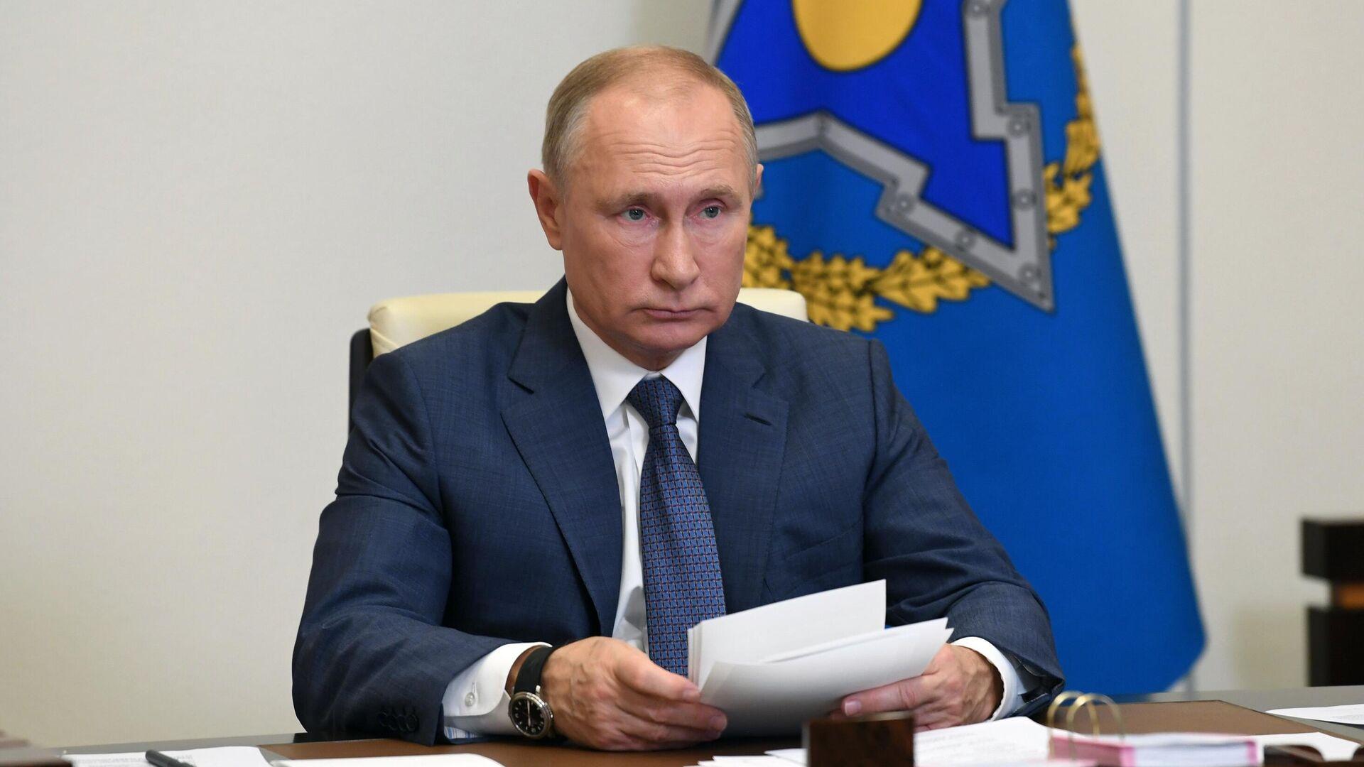 Президент РФ Владимир Путин проводит сессию Совета коллективной безопасности ОДКБ - РИА Новости, 1920, 02.12.2020