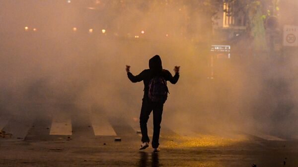 Участник акции протеста против законопроекта О глобальной безопасности в Париже