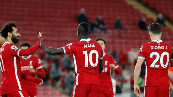 Футболисты Ливерпуля Мохаммед Салах, Садио Мане и Диогу Жота (слева направо)