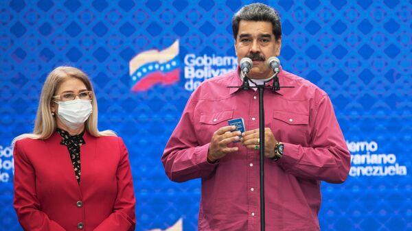 Президент Венесуэлы Николас Мадуро на брифинге после своего участия в голосовании в парламентских выборах