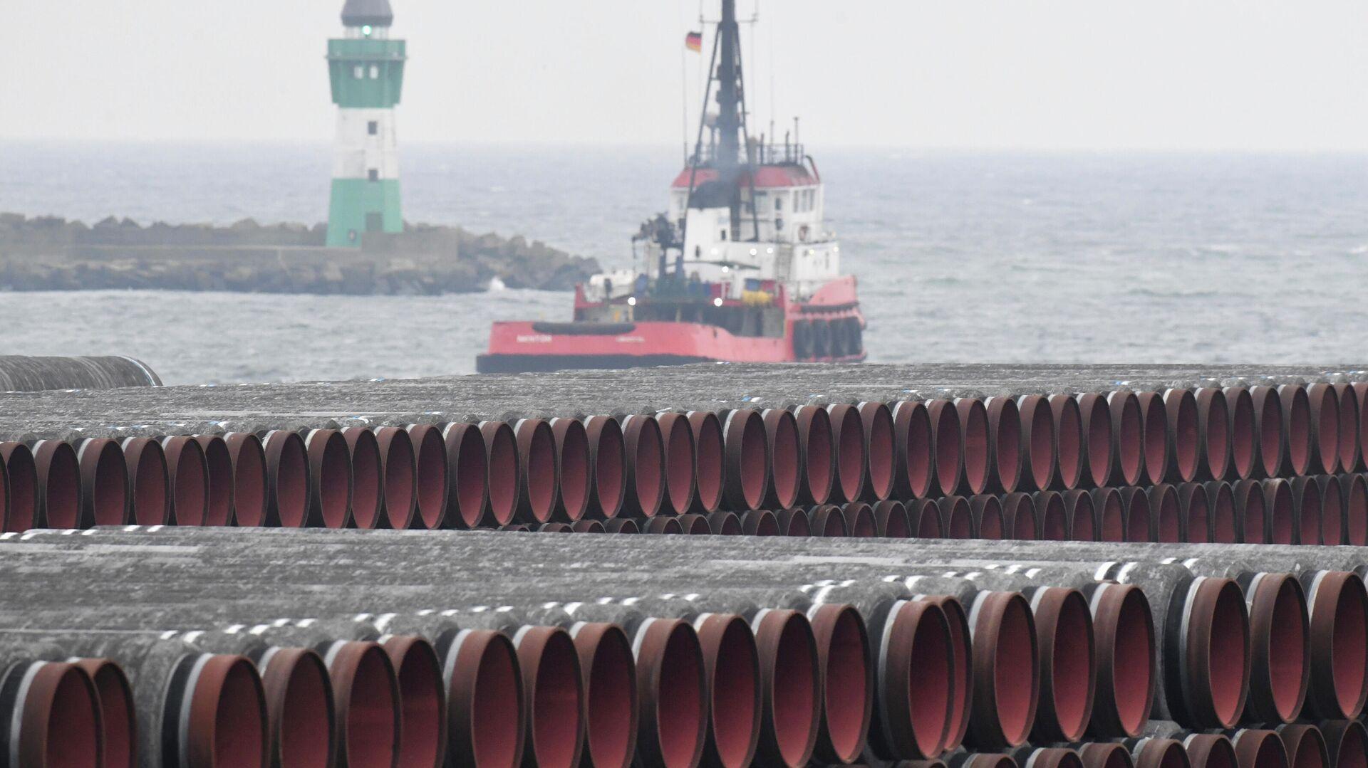 Трубы для строительства газопровода Nord Stream 2 в порту Мукран, Германия - РИА Новости, 1920, 13.07.2021