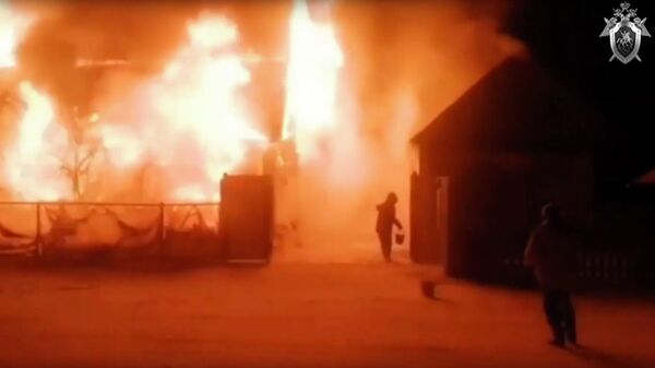 Скриншот видео пожара в доме престарелых в Башкортостане