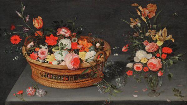 Ян Брейгель Младший при участии мастерской. Корзина с цветами и букет в вазе