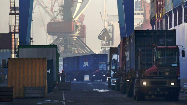 Выгрузка контейнеров с судна в контейнерном терминале Владивостокского морского порта