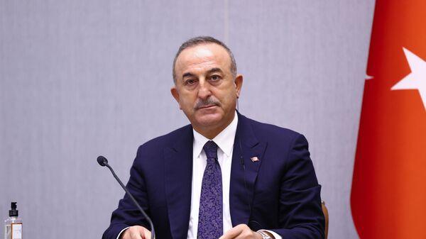 Министр иностранных дел Турции Мевлют Чавушоглу на совместной пресс-конференции по итогам седьмого заседания Совместной группы стратегического планирования под председательством глав МИД Рф и Турции