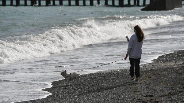 Женщина гуляет с собакой на набережной в Ялте