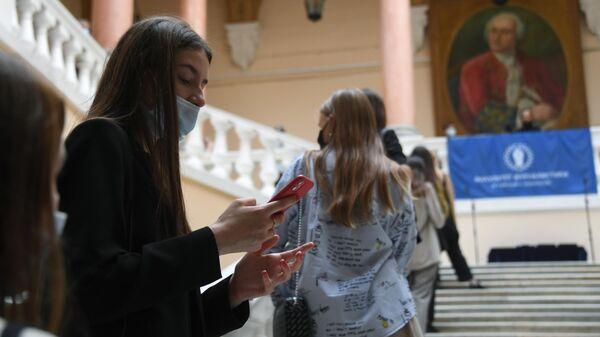 Студенты на факультете журналистики Московского государственного университета