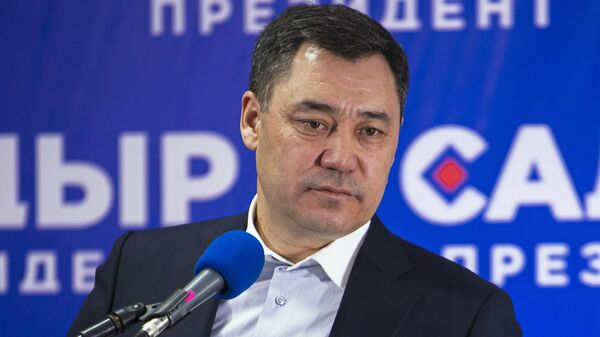Кандидат в президенты Кыргызской Республики Садыр Жапаров на пресс-конференции по итогам досрочных президентских выборов