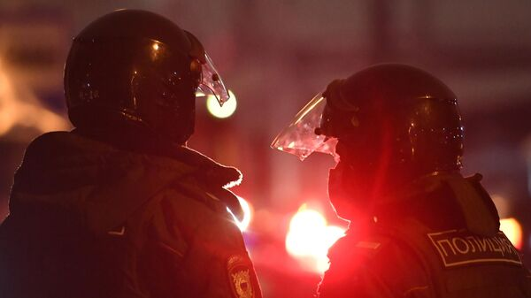 Сотрудники полиции у СИЗО Матросская Тишина в Москве