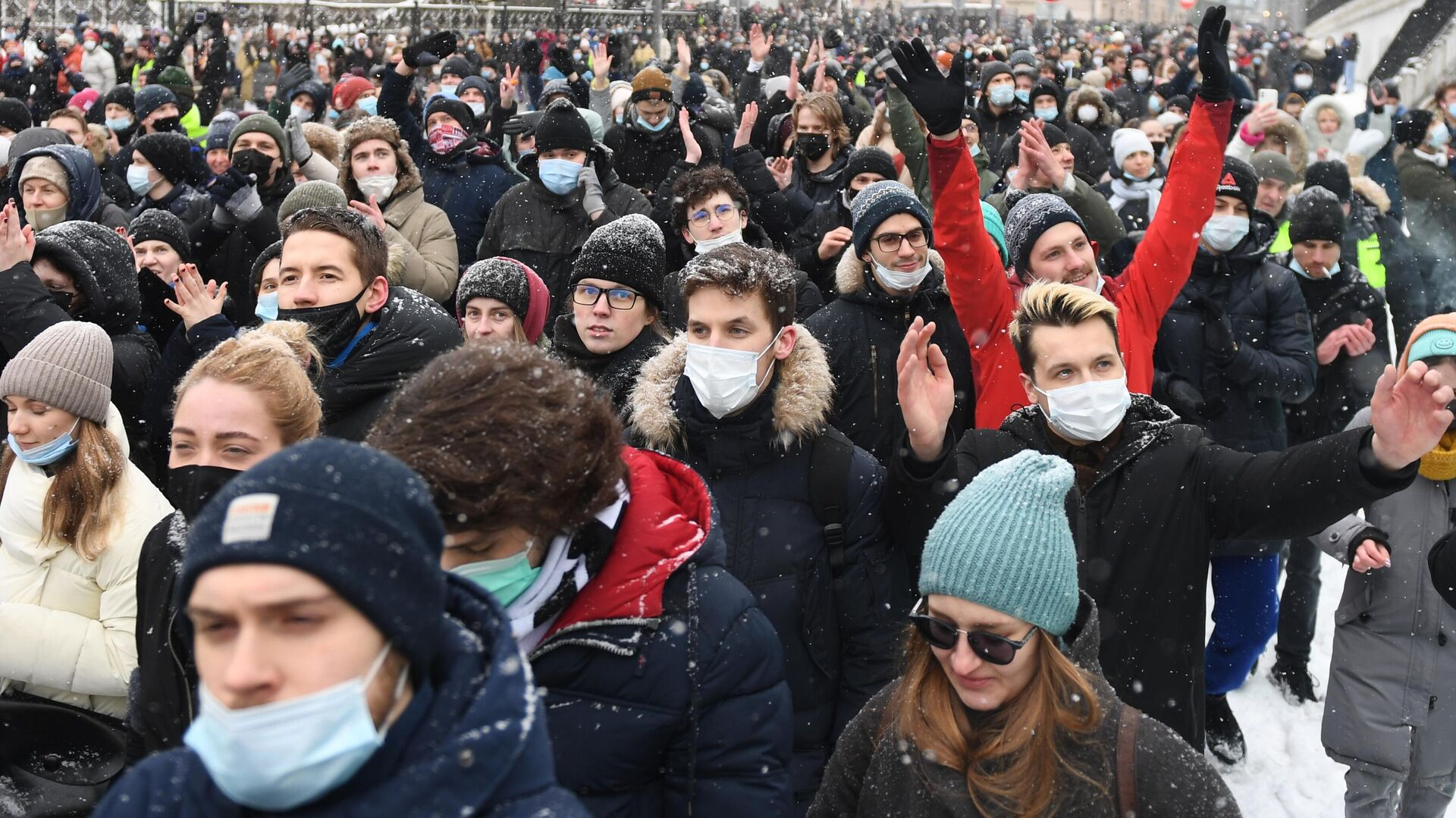 Участники несанкционированной акции сторонников Алексея Навального в Москве - РИА Новости, 1920, 01.02.2021