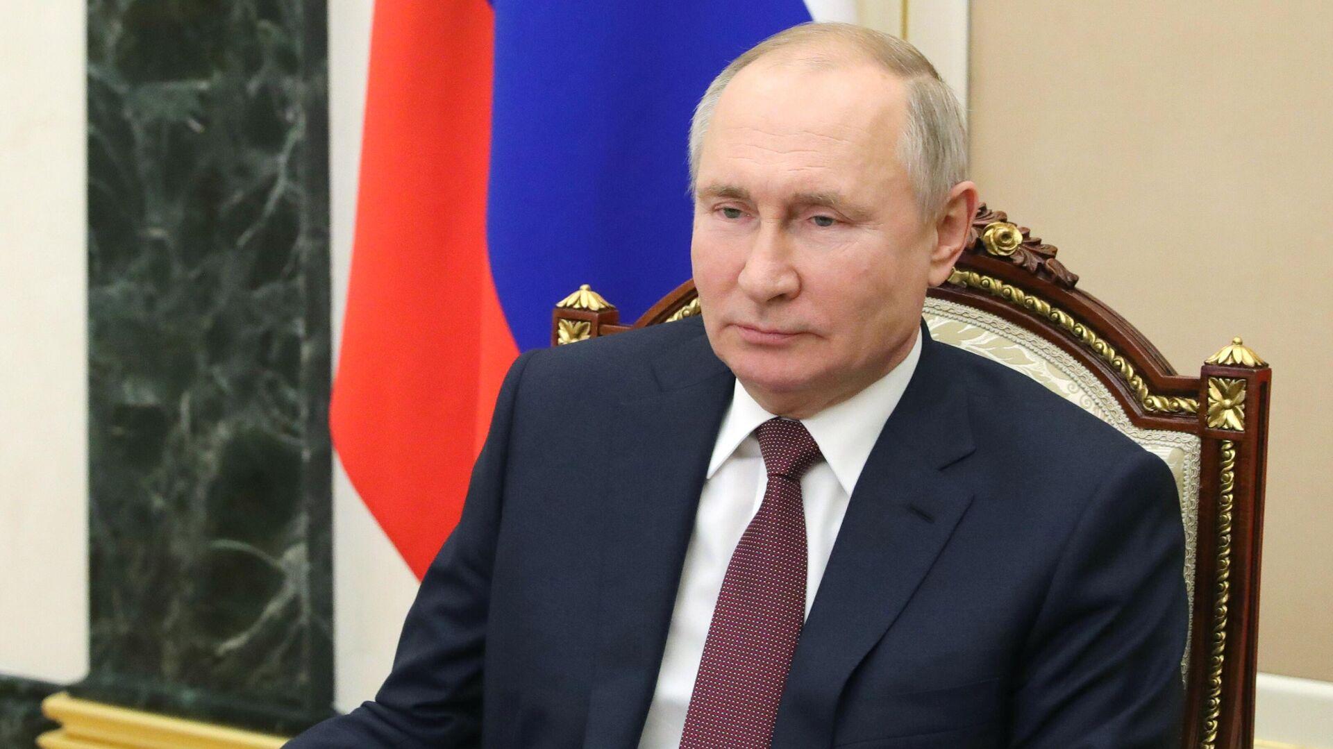 Президент РФ Владимир Путин проводит в режиме видеоконференции оперативное совещание с постоянными членами Совета безопасности РФ - РИА Новости, 1920, 08.02.2021