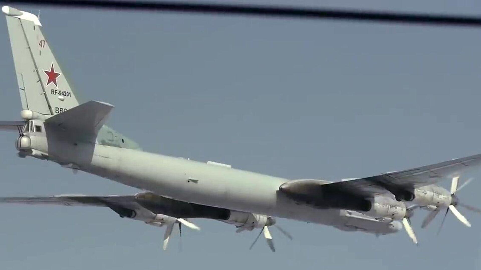 Стратегический бомбардировщик-ракетоносец Ту-95МС во время полета в Амурской области - РИА Новости, 1920, 05.05.2021