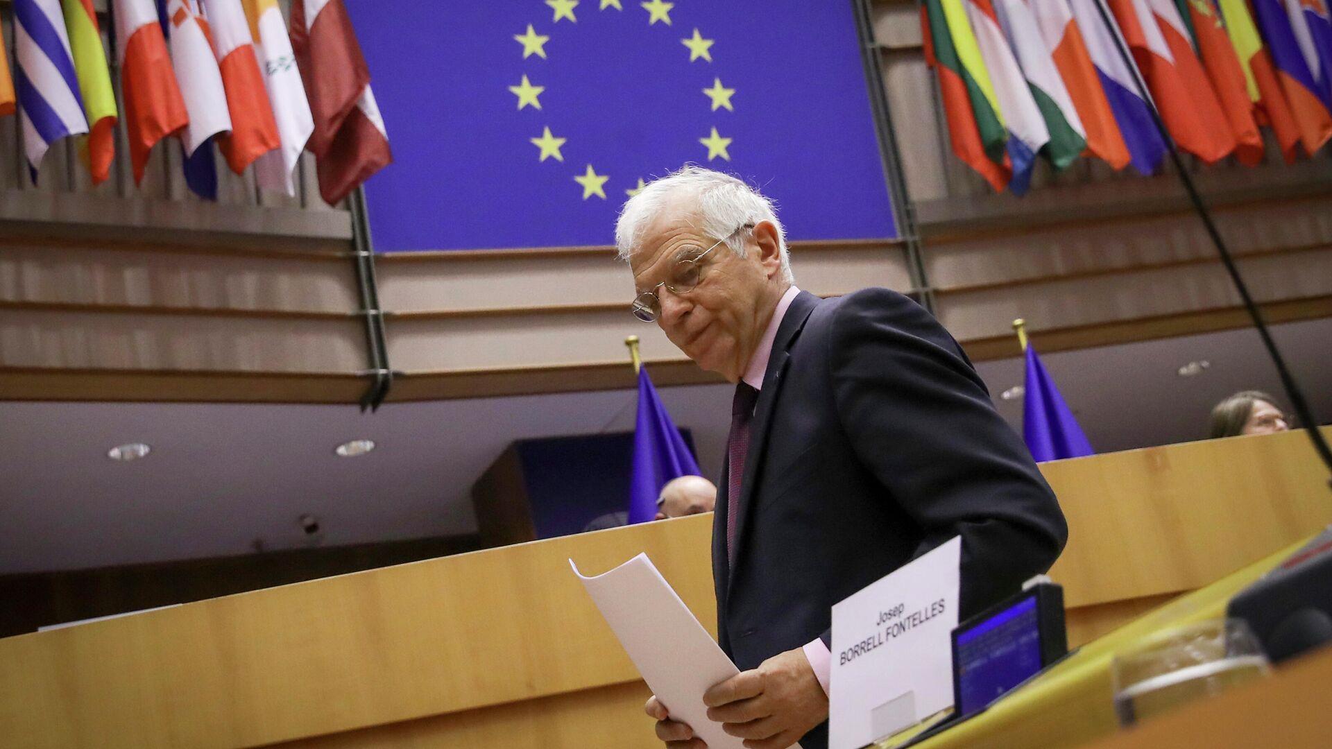 Верховный представитель Европейского союза по иностранным делам и политике безопасности Жозеп Боррель на заседании Европарламента в Брюсселе - РИА Новости, 1920, 22.03.2021