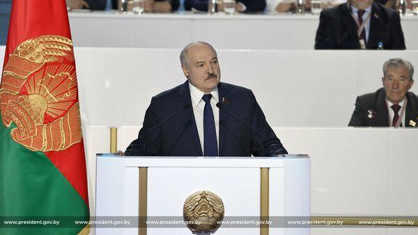 Президент Белоруссии Александр Лукашенко во время выступления на Всебелорусском собрании в Минске