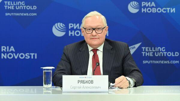 Заместитель министра иностранных дел Российской Федерации Сергей Рябков во время брифинга