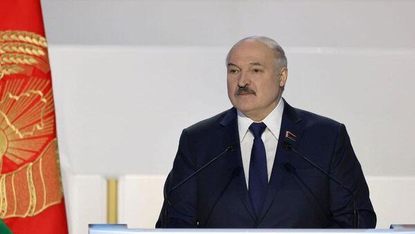 Президент Белоруссии Александр Лукашенко выступает на VI Всебелорусском народном собрании в Минске