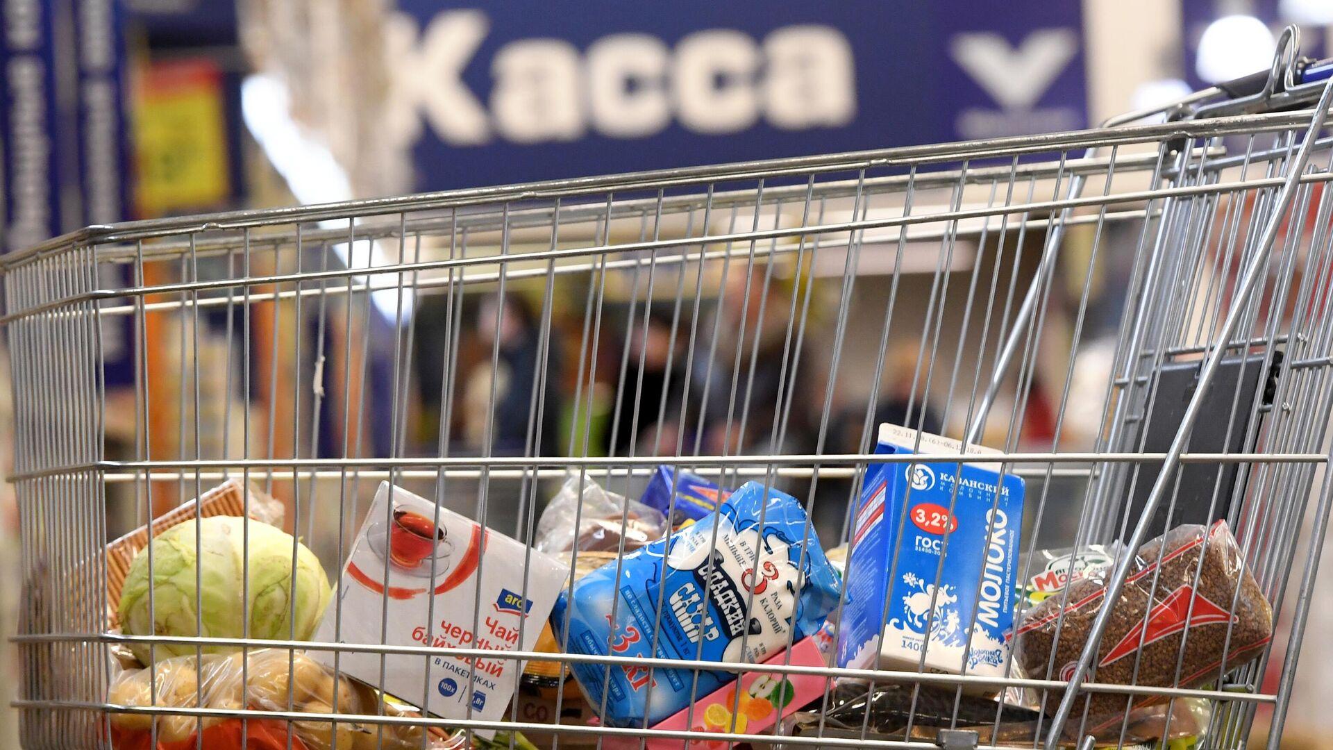Тележка с продуктами в магазине - РИА Новости, 1920, 15.09.2021