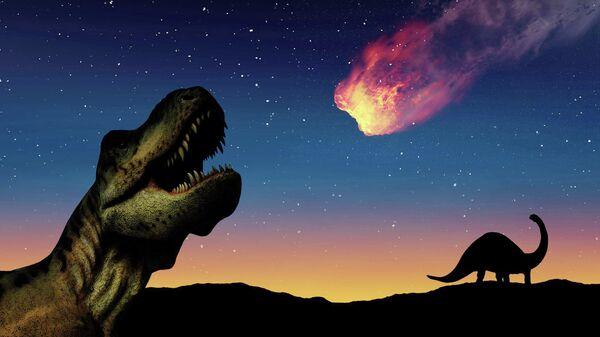 Падение астероида, создавшего кратер Чиксулуб