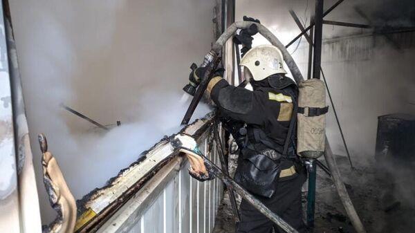 Пожар на рынке в Волгограде
