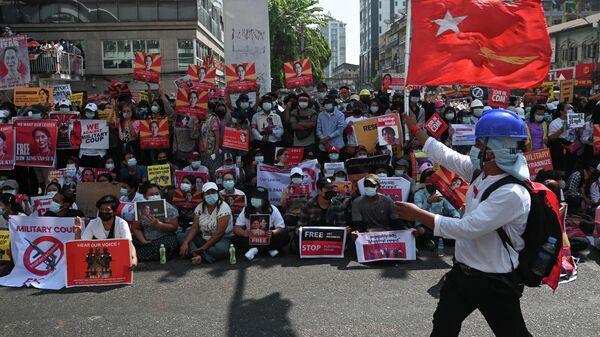 Акция протеста в Мьянме