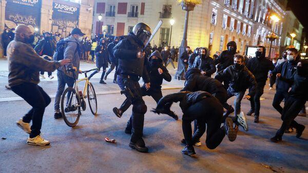 Акция протеста в поддержку рэпера Пабло Аселя в Мадриде