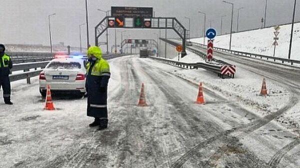 Пост на въезде на Крымский мост