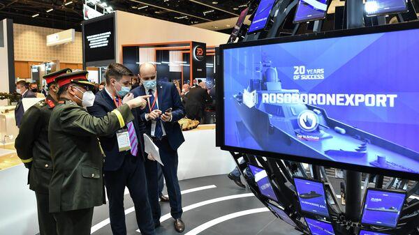 Стенд Рособоронэкспорта на выставке оборонной промышленности IDEX-2021 в Абу-Даби