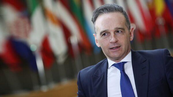 Глава МИД ФРГ Хайко Маас перед началом саммита глав МИД ЕС в Брюсселе